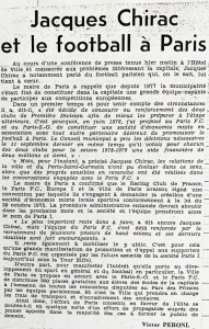 l'article de L'Equipe après la conférence de presse de Jacques Chirac